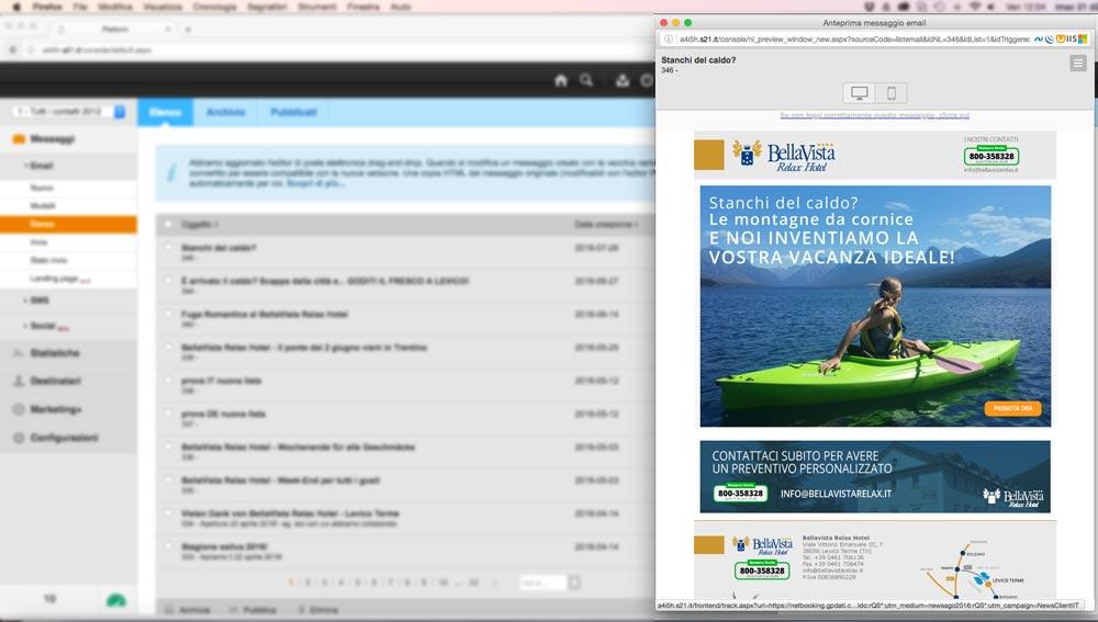 Progettazione invio Newsletter BellaVista Relax Hotel | D2C srl | Digital Agency Milano | Al tuo cliente, direttamente
